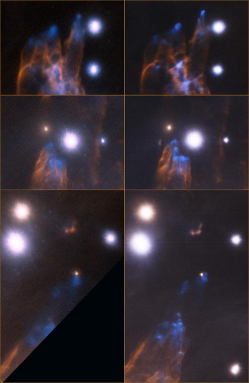 """Λεπτομερείς όψεις της περιοχής των """"Σφαιρών του Ωρίωνα"""". Σε κάθε ζευγάρι εικόνων αριστερά είναι η εικόνα από το Altair το 2007 και δεξιά η νέα εικόνα από το GeMS το 2012 (Πηγή: Gemini Obseratory/AURA)"""